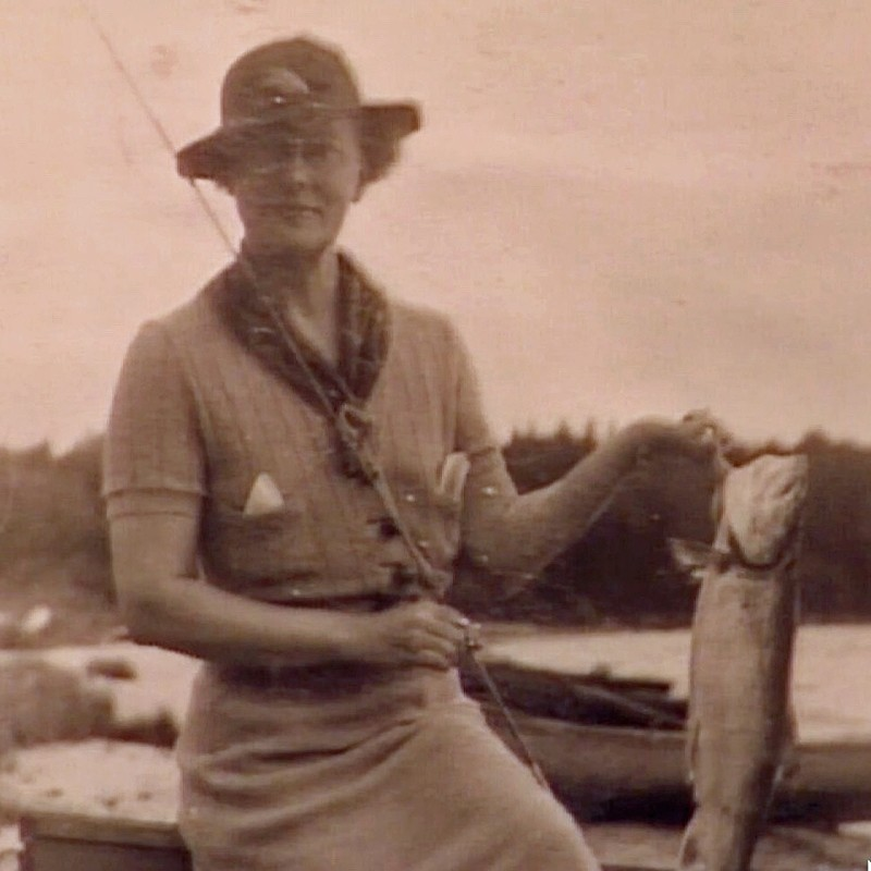 Miss Quimby with fish